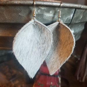 Hand made real leather earrings